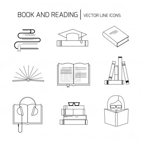 Set of book line icons and signs