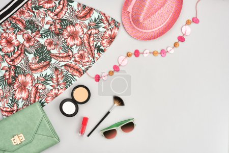 Fashion girl clothes accessories set. Street style