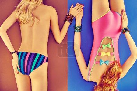 Beauty woman body in fashion swimsuit, lesbians, beach look