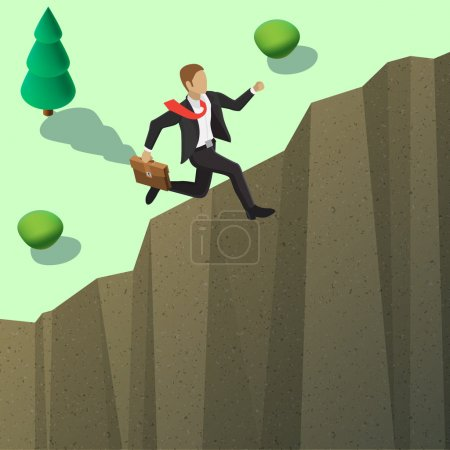 Illustration for Businessman in a suit and with a briefcase flies to the goal of the gap. Shooting to success goal concept. New business banner. Isometric style illustration - Royalty Free Image