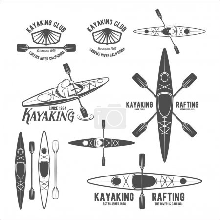 Set of vintage rafting labels