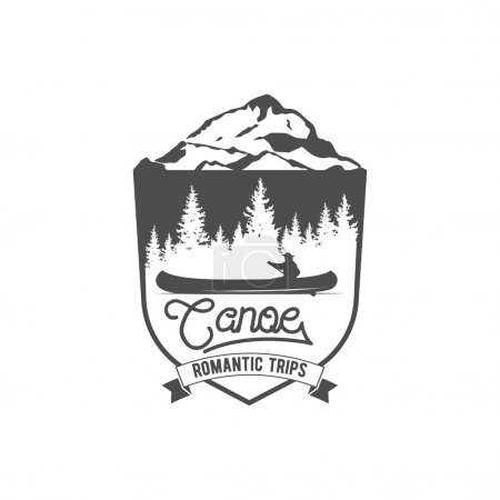 Illustration for Vintage mountain, rafting, kayaking, paddling, canoeing camp logo, label and badge. Stylish Monochrome design. Outdoor activity theme. Summer and winter vacation insignias. - Royalty Free Image