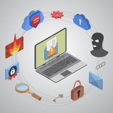 Illustration pour Protection des données et sécurité au travail. Conception plate isométrique EPS10 - image libre de droit