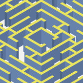 Vector illustration of mazeIsometric labyrinth flat style