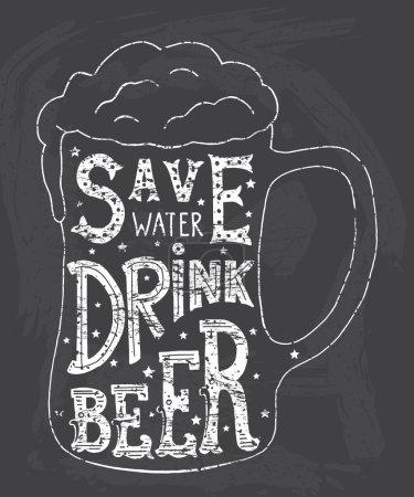 Illustration pour Économisez de l'eau buvez bière. Art typographique fait à la main pour affiche Imprimer Carte de vœux T-shirt design de vêtements, illustration vectorielle artisanale . - image libre de droit