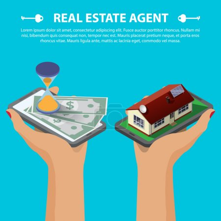 Illustration for Flat 3d isometric creative mobile real estate sale web infographics concept. Two hands with smartphone on micro house street block and with hourglass and money. Isometric illustration - Royalty Free Image