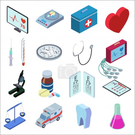Illustration for Isometric style illustration icons set of medical inspection. Red heart, medical scales, thermometer, syringe, bacteria, microscope, packaging tablets, tooth, tube, medical kit, heart monitor - Royalty Free Image