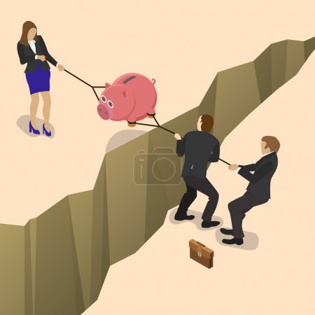 Illustration for Businessman and business woman fights over for money, pulling the piggy bank with money to opposite sides over a precipice for business competition design. Isometric flat style illustration. - Royalty Free Image