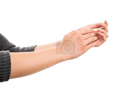 Photo pour Un gros plan de mains féminines applaudissant, isolées sur fond blanc . - image libre de droit