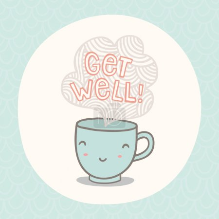 Get well greeting card with cute smiling cup