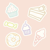 Cupcake piece of cake ice cream cone candy donut Vector EPS10 hand drawn isolated objects