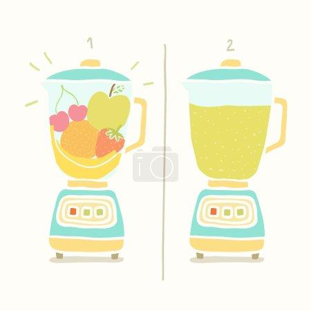 Illustration pour Mélangeur de smoothie aux fruits. Illustration vectorielle dessinée à la main EPS 10 - image libre de droit