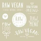 "Постер, картина, фотообои ""Old textured raw vegan badges."""