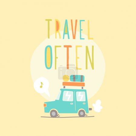 Illustration for Travel often. Road trip. Vector EPS 10 hand drawn illustration - Royalty Free Image