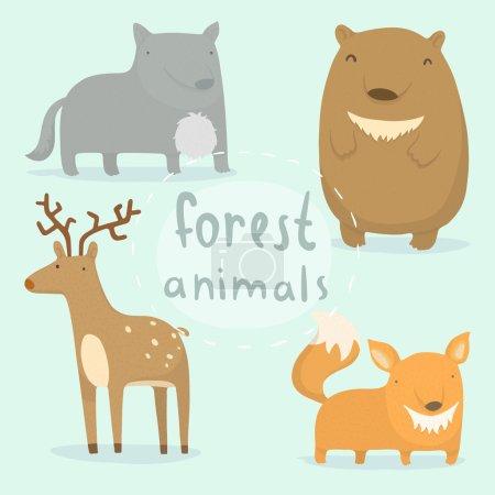 Photo pour Animaux forestiers prêts. Illustration vectorielle dessinée main - image libre de droit
