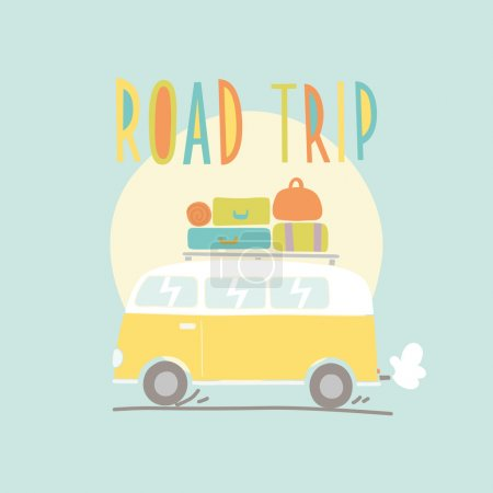 Illustration for Road trip. Van with a lot of luggage. Vector hand drawn illustration - Royalty Free Image