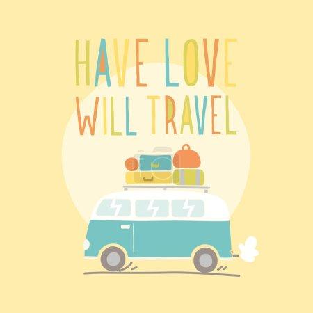 Have love will travel. Retro van illustration