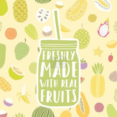 Illustration pour Pot dessiné à la main avec motif de fruits. Illustration vectorielle - image libre de droit