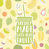 Freshly made with real fruits Hand drawn jar and fruit pattern