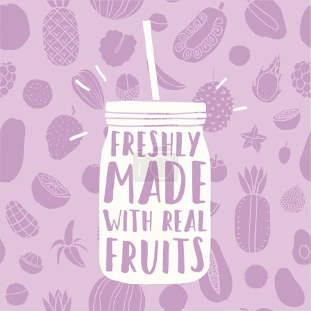 Freshly made with real fruits. Hand drawn jar and fruit pattern.