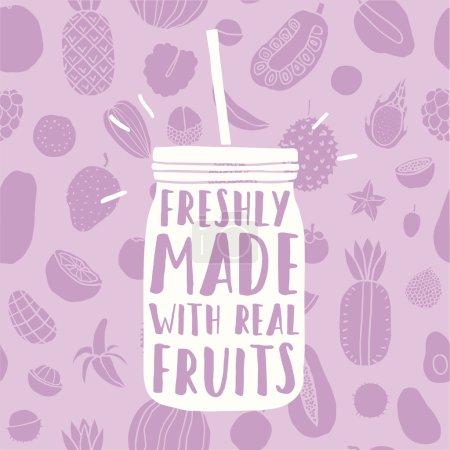 Illustration pour Fraîchement fait avec de vrais fruits. Pot dessiné à la main et motif de fruits. Illustration vectorielle - image libre de droit
