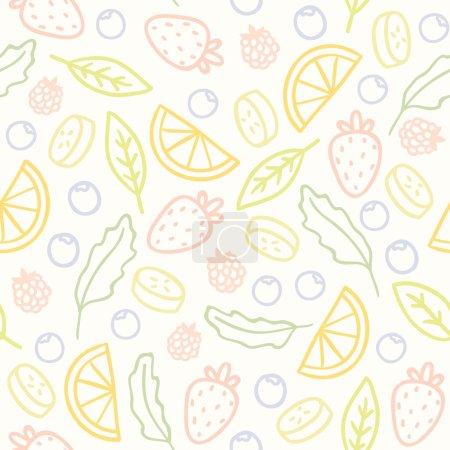 Illustration pour Doodle fruits et baies motif sans couture. Illustration vectorielle - image libre de droit