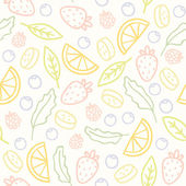 Doodle fruits and berries seamless pattern Vector illustration