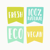 Natural and vegan flag tags Vector hand drawn illustration