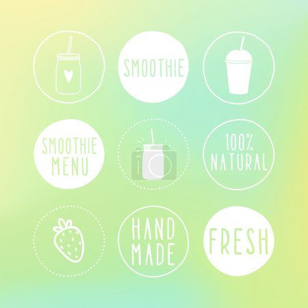 Hand drawn smoothie labels and blur background.