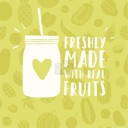 Illustration for Freshly made with real fruits mason jar. Vector hand drawn illustration - Royalty Free Image