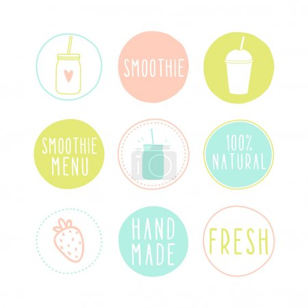 Illustration for Set of different smoothie labels. Vector EPS 10 hand drawn illustration - Royalty Free Image