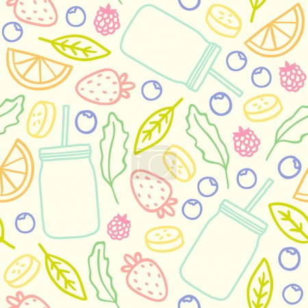 Fruits, berries and smoothie jars outline seamless pattern