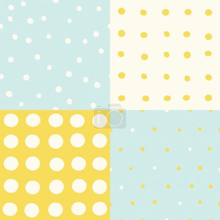 Illustration for Set of 4 hand drawn cute seamless patterns. Vector hand drawn illustration - Royalty Free Image