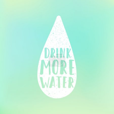 Drink more water motivation poster. Text in drop and blur background.