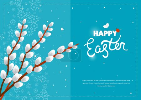 Illustration for Easter card with pussy willow tree. Happy Easter logo template. Easter Sunday. Easter Day. Hand Lettering. Happy Easter illustration for greeting card, invitation, poster, banner - Royalty Free Image