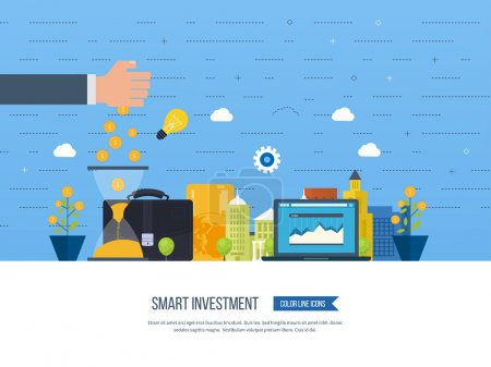 Illustration for Flat line design concept for smart investment, finance, banking, market data analytics, strategic management, financial planning. Business diagram graph chart. Investment growth. Property investment - Royalty Free Image