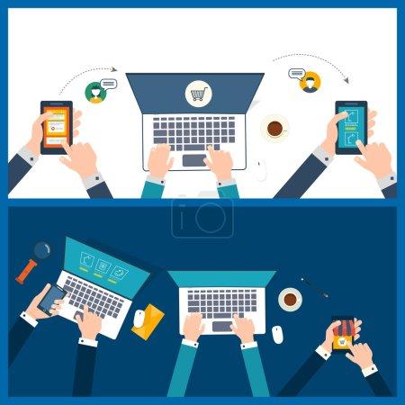 Illustration pour Conception plate illustration vectorielle moderne concept de travail d'équipe analyse projet sur réunion d'affaires, travail d'équipe, boutique en ligne, marketing mobile. Bureau de travail d'équipe - image libre de droit