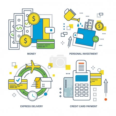 Concept of money, personal investment, express delivery, credit card payment.