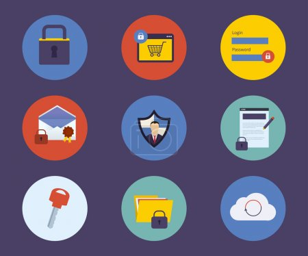 Illustration for Set of flat design concept icons for technology security and data protection, search engine optimization - Royalty Free Image