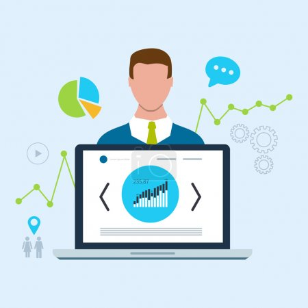 Photo for Expert of search engine optimization and business development. Analytics information and management resources, growth charts and graphs - Royalty Free Image