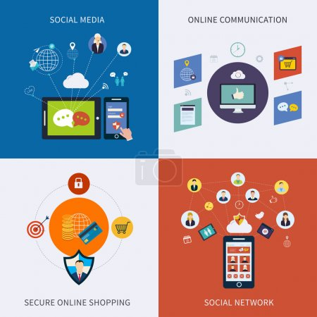 Photo for Icons for social network, social media, online communication and secure online shopping in flat design. - Royalty Free Image