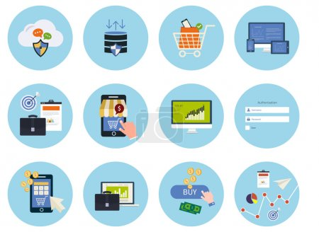 Photo for Set for web and mobile applications of data protection, online shopping, pay per click, analytics search information, internet security, seo, market research concepts items icons in flat design - Royalty Free Image