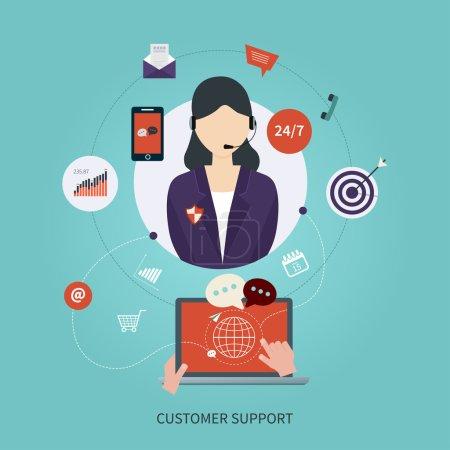 Illustration pour Concept de service à la clientèle d'affaires icônes plates. Réactions. Femme avec des icônes. Illustration vectorielle - image libre de droit
