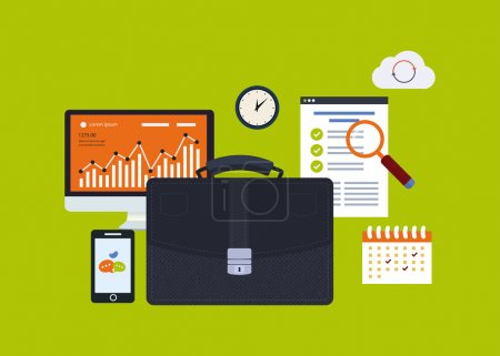 Illustration pour Flat design vector illustration infographic concept with icons set of modern business working elements, business consulting, finance paperwork objects and financial planning. - image libre de droit