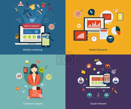 Ilustración de Set of flat design concept icons for mobile marketing, market research, customer support and social network. Concepts for web banners, printed materials and mobile phone services. - Imagen libre de derechos