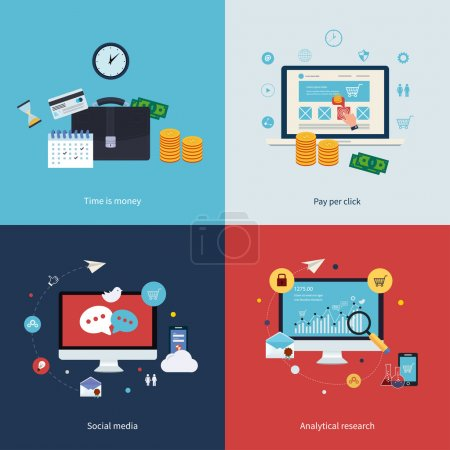 Photo for Icons for time is money, pay per click, online shopping, social media and analytical research in flat design. Vector illustration. - Royalty Free Image