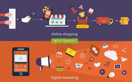 Illustration pour Ensemble de design plat vector illustration concepts en ligne mobile commercial, marketing et digital marketing. - image libre de droit