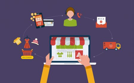 Illustration for Mobile marketing and online store concept flat icons. Full circle of online-shopping with mail menu of wide range products, product research, basket, pay per click, call center, delivery. - Royalty Free Image