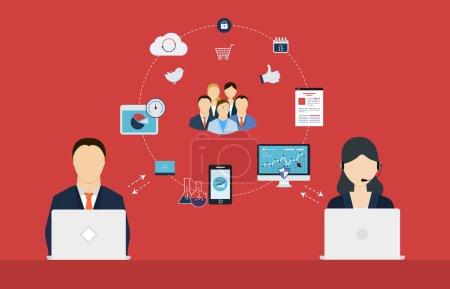 Illustration pour Concept de services-conseils, gestion de projet, gestion du temps, recherche marketing, planification stratégique . - image libre de droit