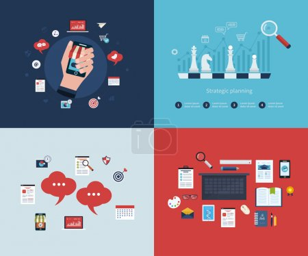 Illustration pour Set of flat design vector illustration concepts for business strategy, mobile marketing, business workflow, consulting services, time management, marketing research and strategy planning - image libre de droit